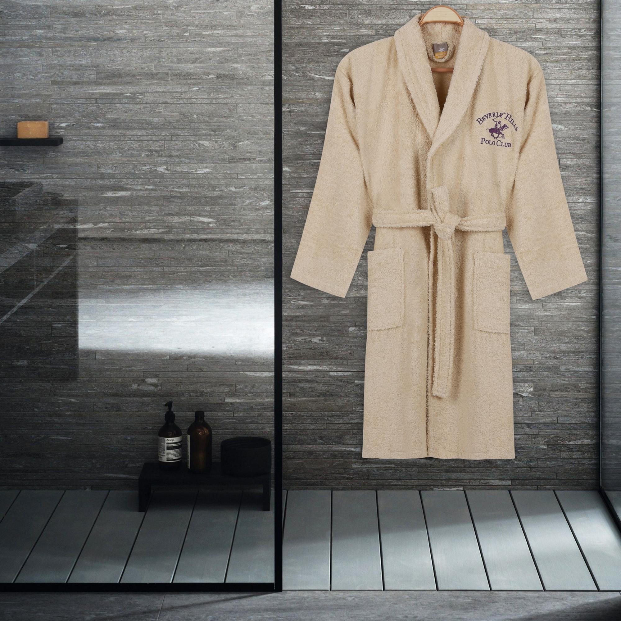 Halat de baie unisex, din bumbac, Beverly Hills Polo Club 700 Crem, M / L poza