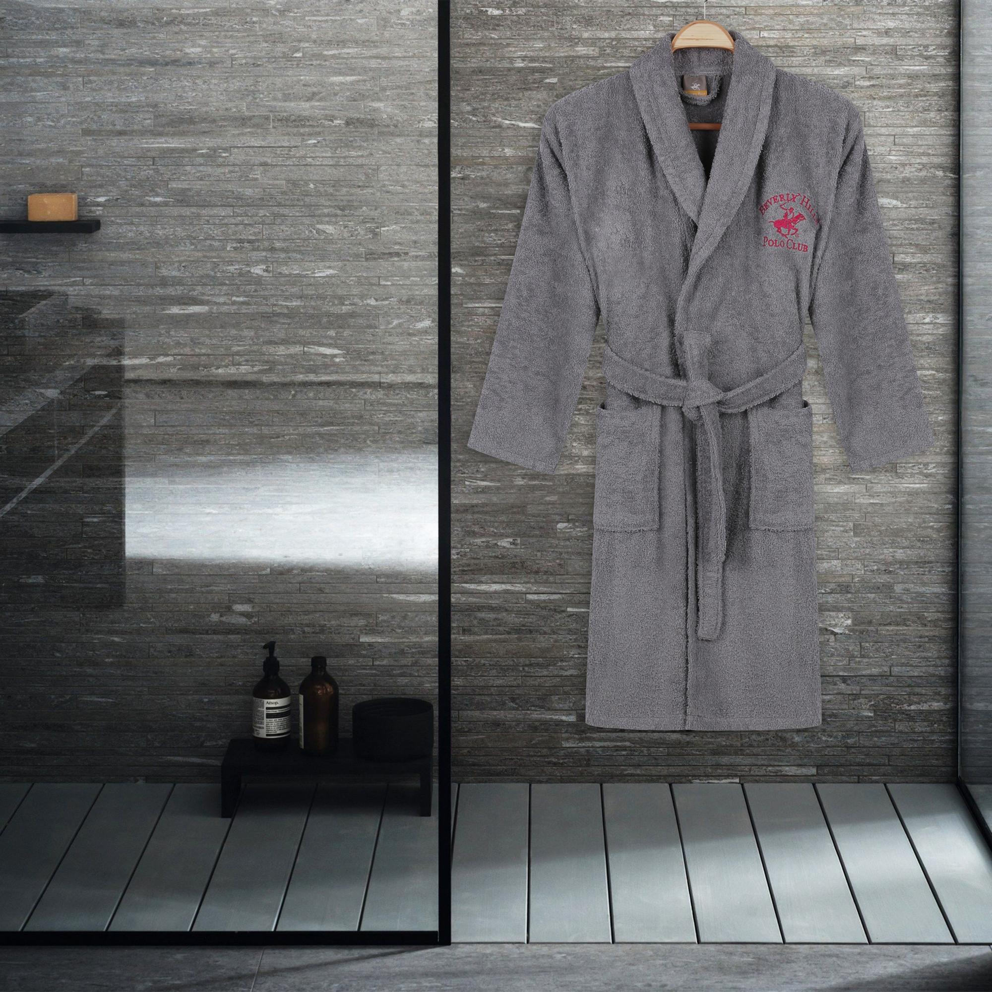 Halat de baie unisex, din bumbac, Beverly Hills Polo Club 700 Gri, M / L imagine