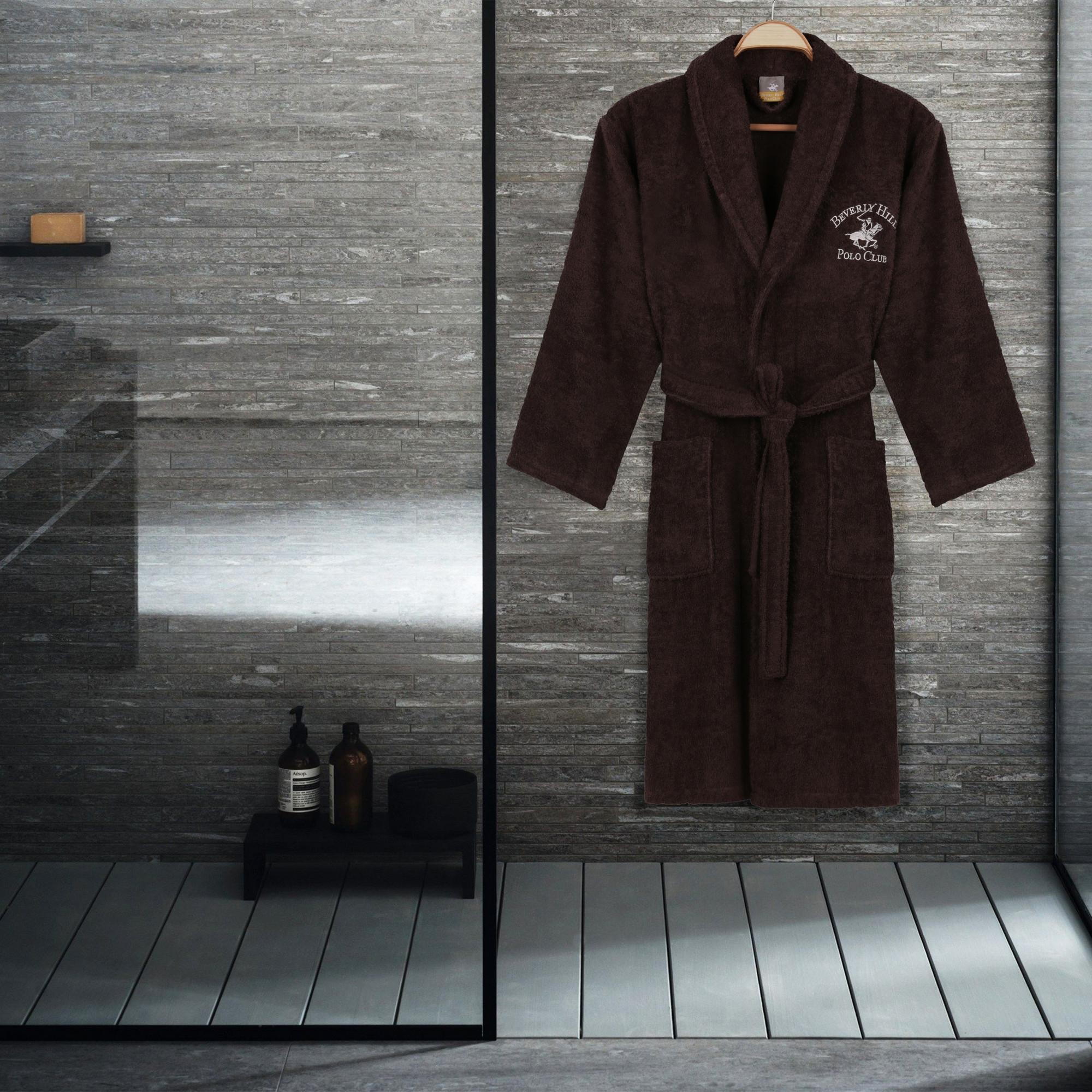 Halat de baie unisex, din bumbac, Beverly Hills Polo Club 700 Maro, L / XL