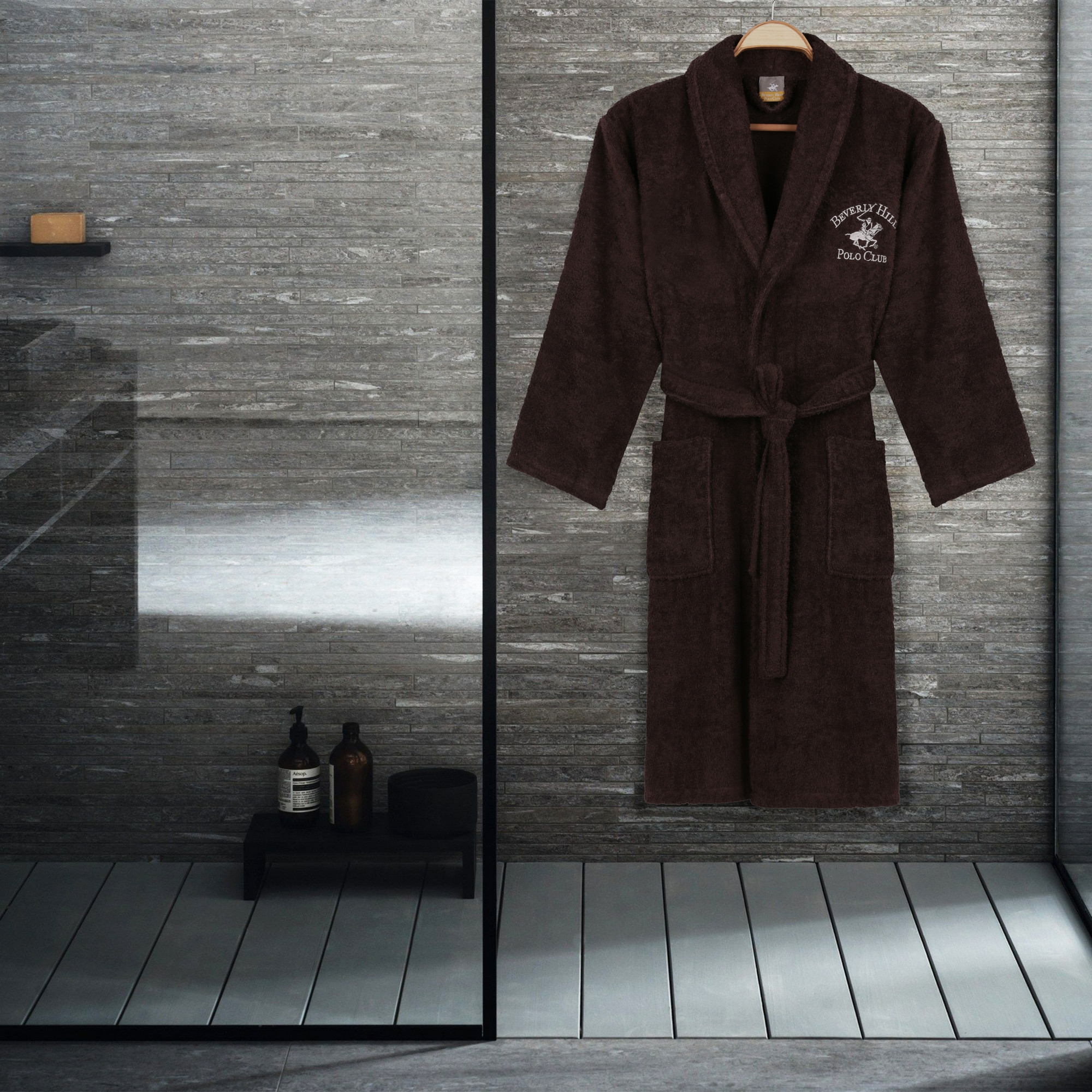 Halat de baie unisex, din bumbac, Beverly Hills Polo Club 700 Maro, M / L