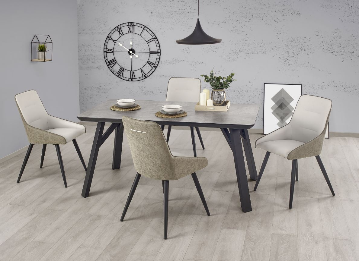 Set masa din metal si MDF Halifax Grey / Black + 4 scaune K243 Grey / Black, L160xl90xh76 cm imagine