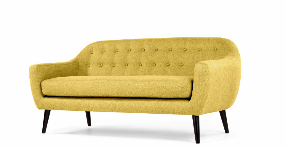 Canapea fixa tapitata cu stofa Hannah Yellow