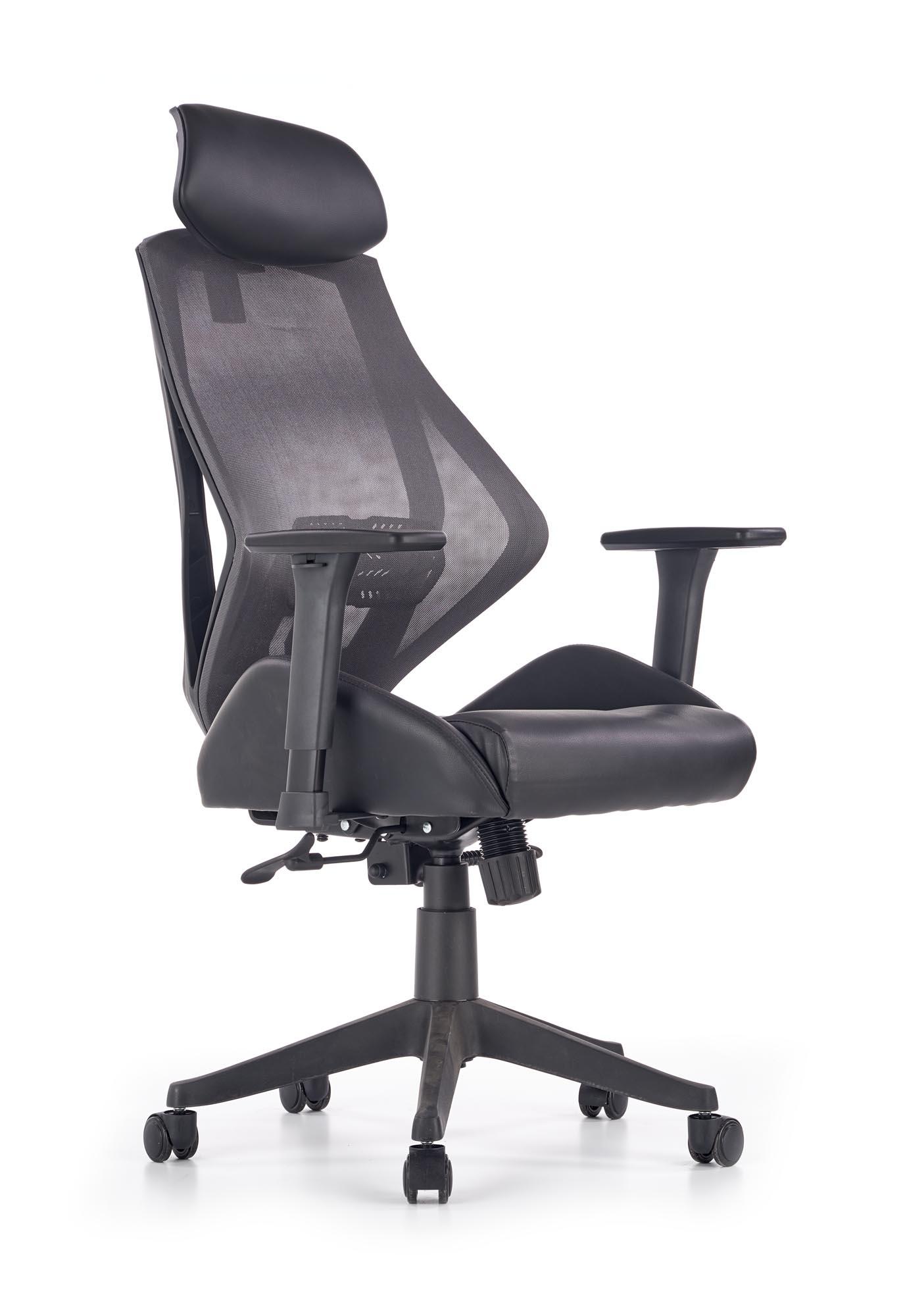 Scaun de birou ergonomic, tapitat cu piele ecologica Hasel Negru / Gri, l68xA78xH110-118 cm imagine