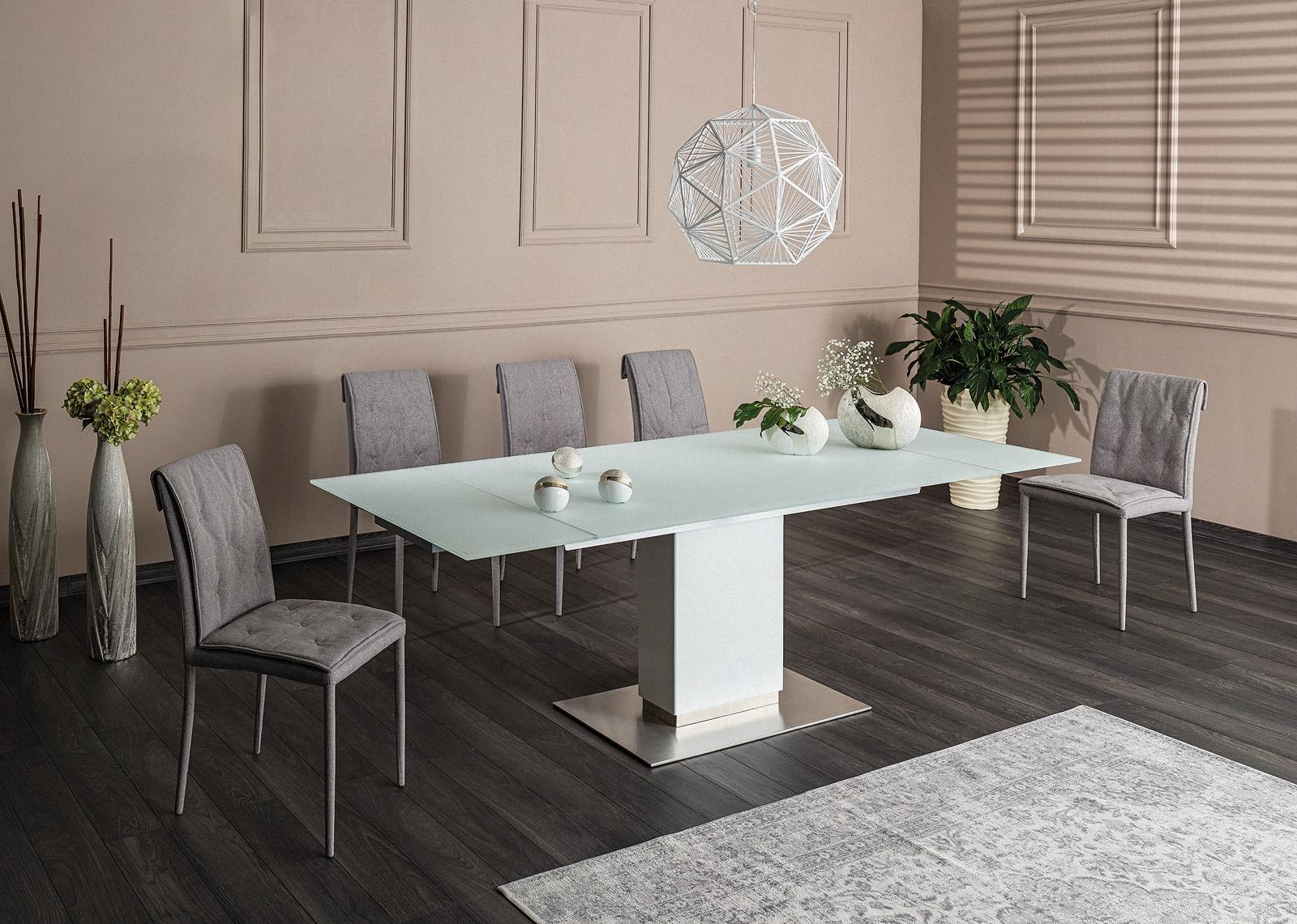 Set masa extensibila din sticla si MDF Horizon White + 6 scaune tapitate Nido Grey, L160-240xl90xH76 cm imagine