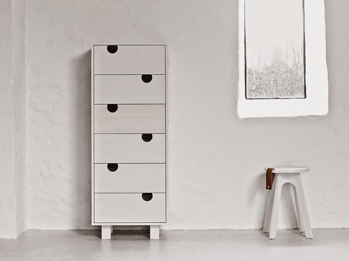 Cabinet cu 6 sertare House White, l40xL50xh130 cm
