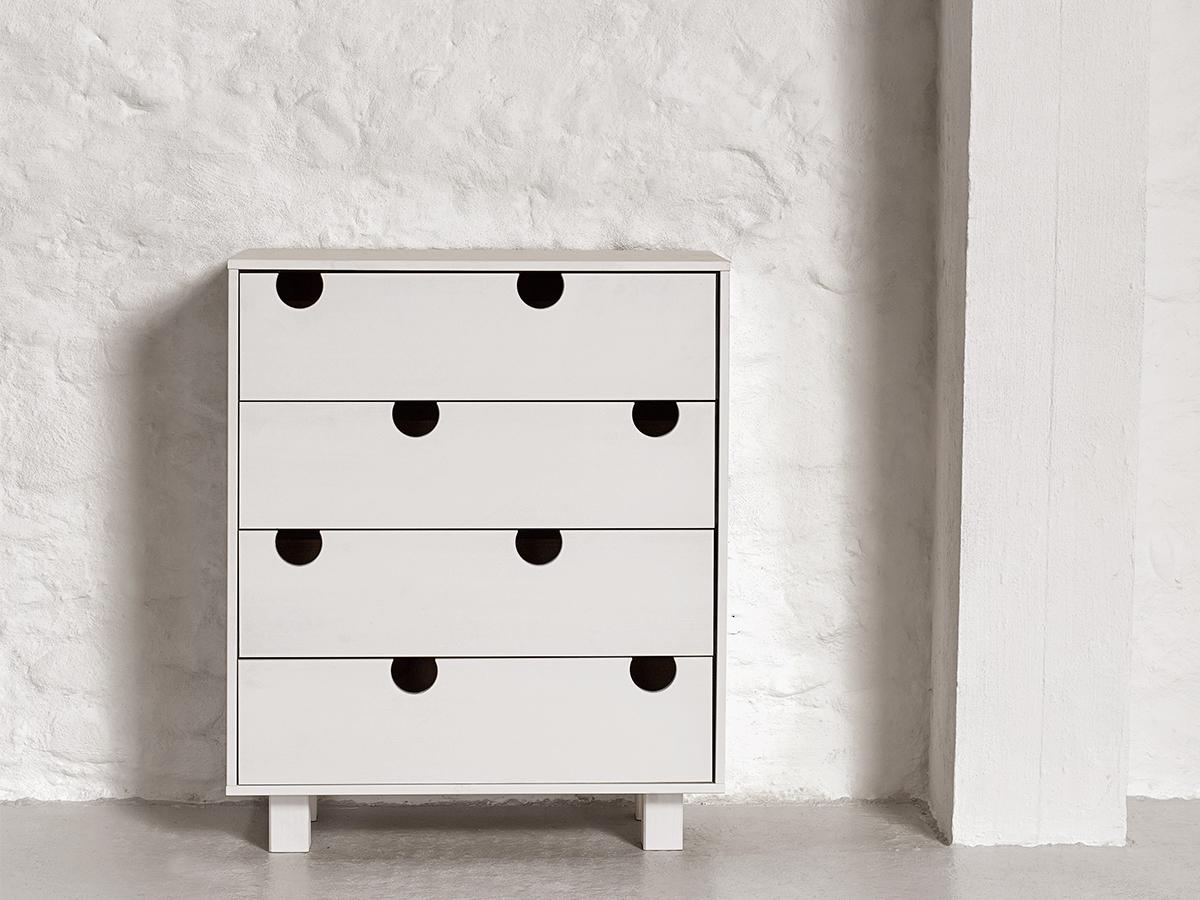 Cabinet cu 4 sertare House White, l40xL75xh90 cm