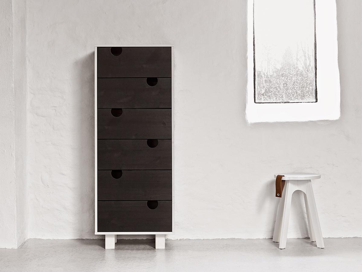 Cabinet cu 6 sertare House White/Black, l40xL50xh130 cm