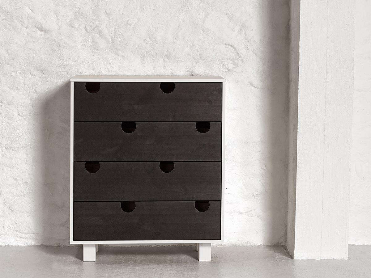 Cabinet cu 4 sertare House White/Black, l40xL75xh90 cm