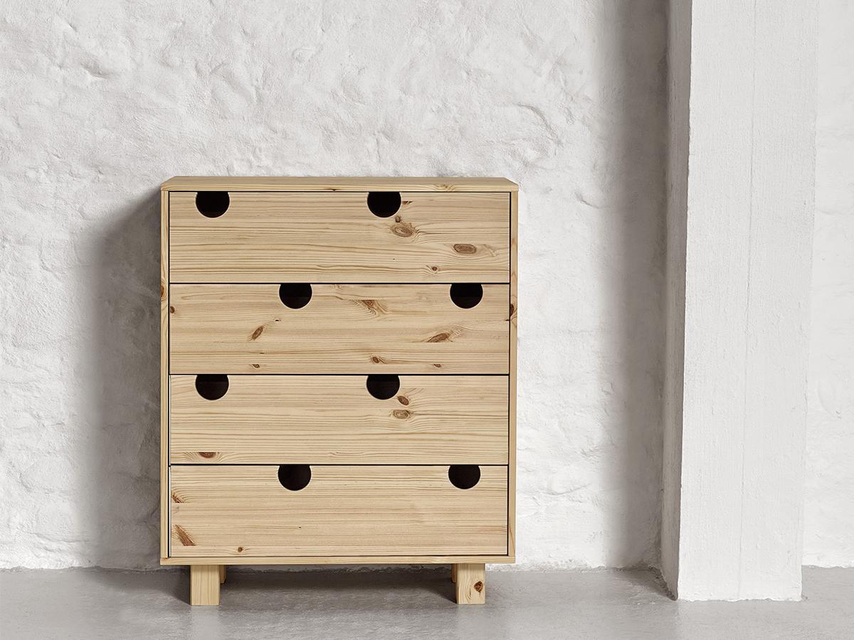 Cabinet din lemn de pin cu 4 sertare House Nature l75xA40xH90 cm