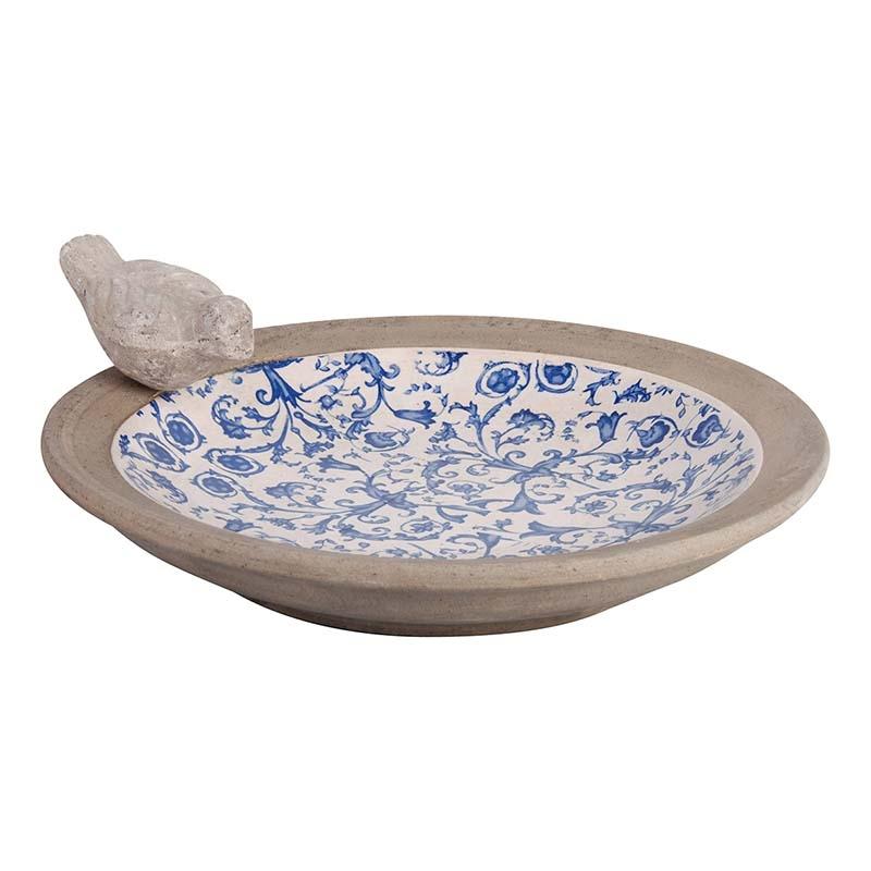 Hranitoare pentru pasari, din ceramica, Aged Gri / Albastru, Ø33,5xH10,8 cm somproduct.ro