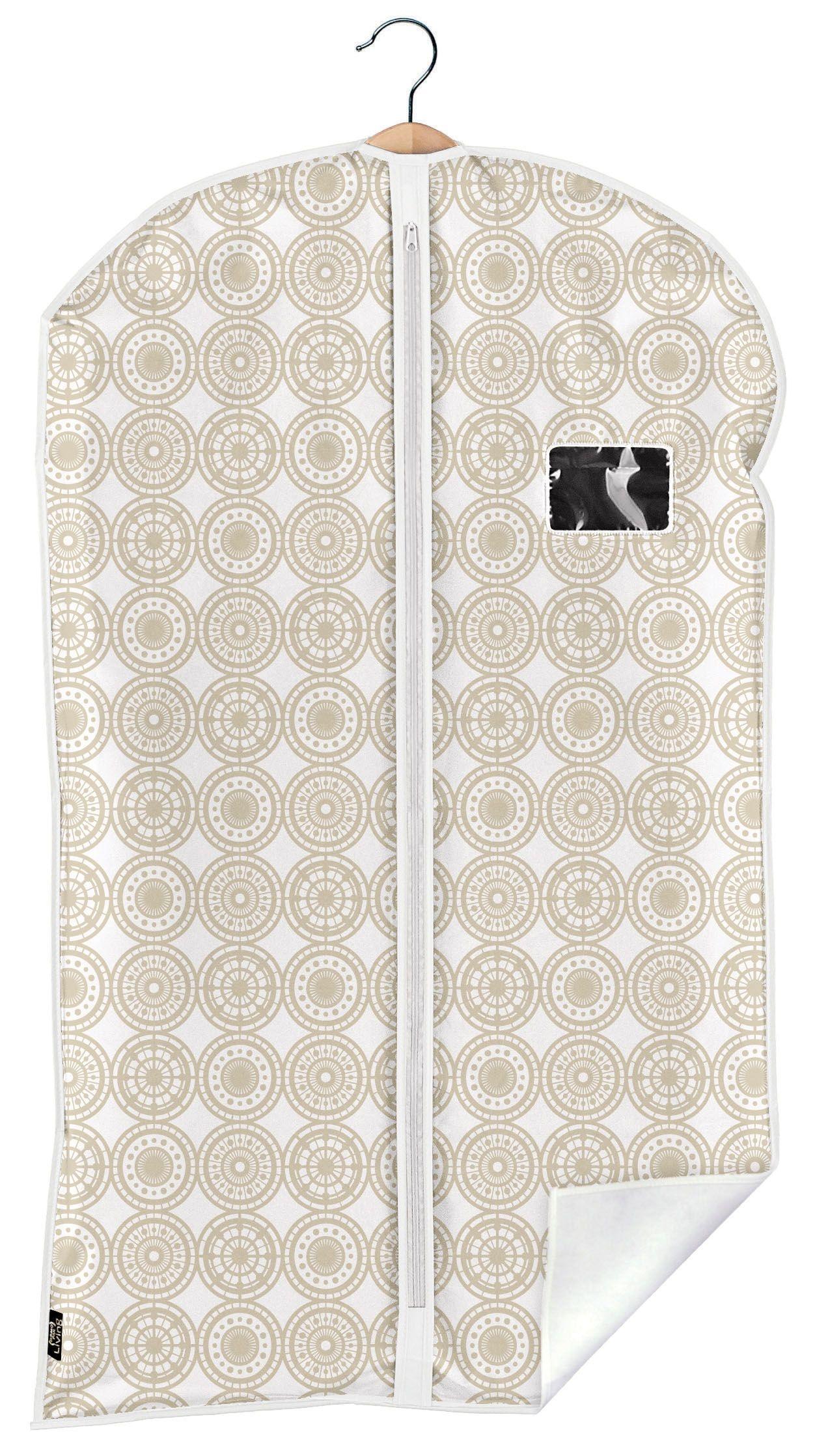 Husa pentru haine cu fermoar, Ella Bej, l60xH100 cm poza