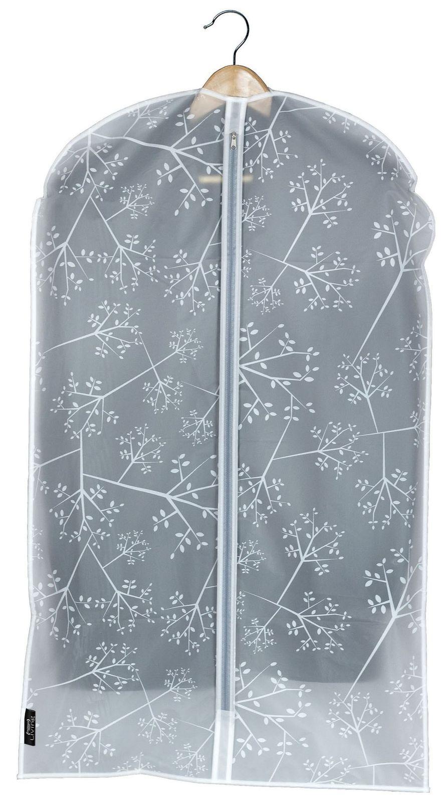 Husa pentru haine cu fermoar, Bon Ton Transparent / Alb, l60xH100 cm poza