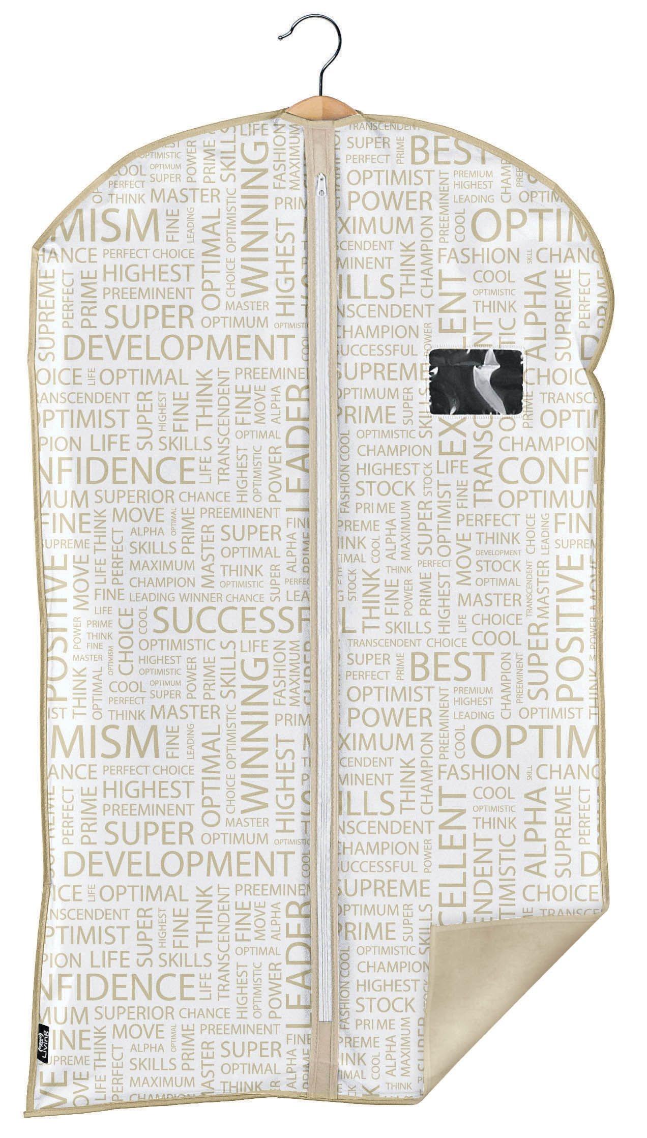 Husa pentru haine cu fermoar, Urban Alb / Grej, l60xH100 cm poza