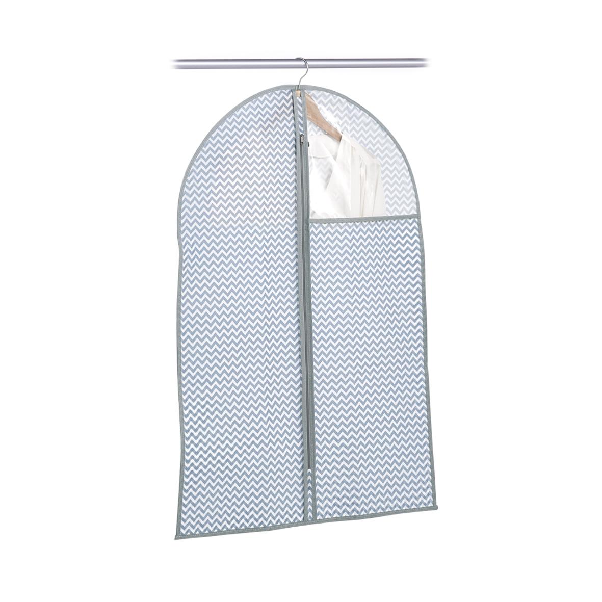 Husa textila pentru haine cu fermoar, Alb / Gri Zig Zag, l60xH90 cm