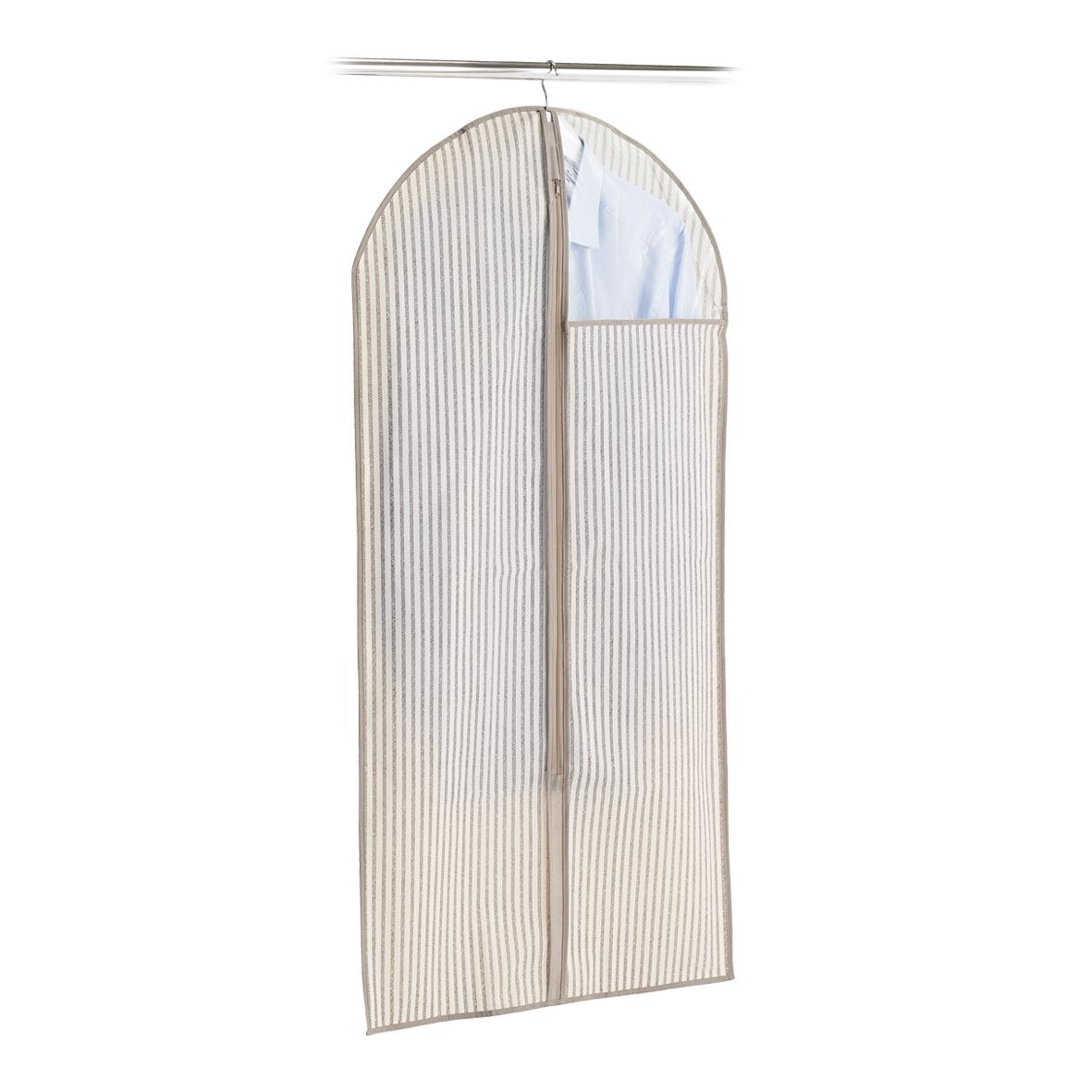 Husa textila pentru haine cu fermoar, Bej Stripes, l60xH120 cm imagine