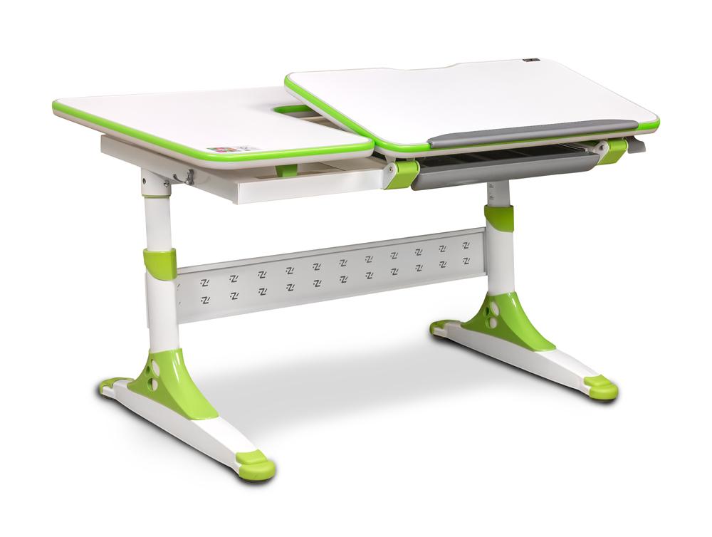 Masa de birou Bologna Ergodesk, White / Green, L120xl67,5h58 cm