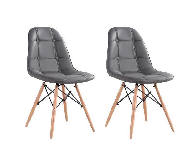 Set 2 scaune tapitate cu piele ecologica si picioare de lemn Iars Grey l41xA36xH83 cm
