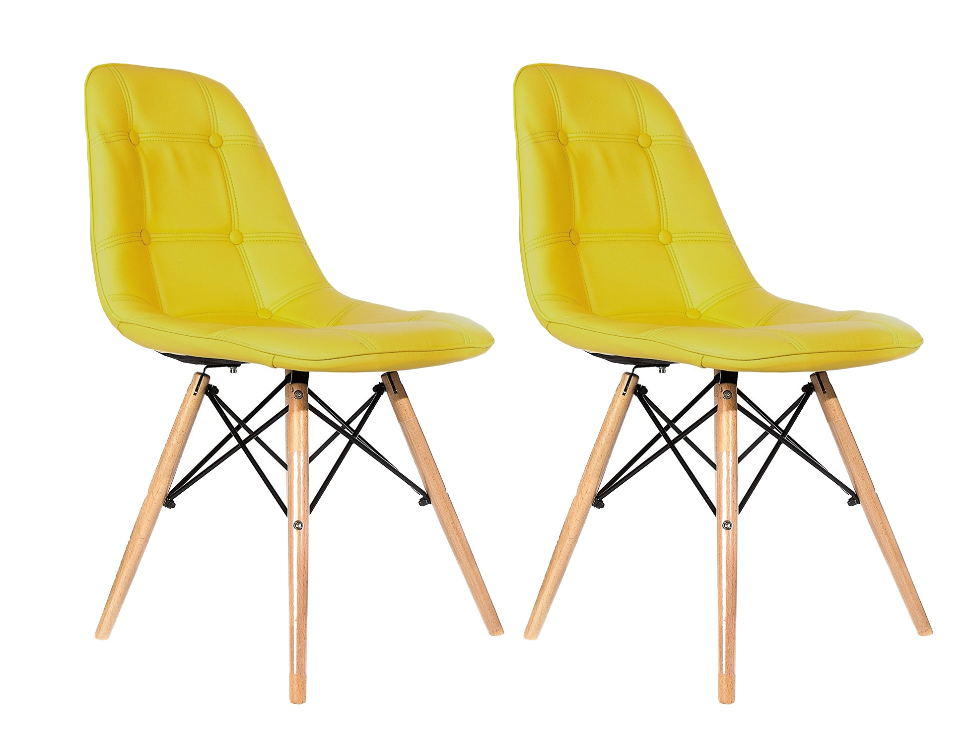 Set 2 scaune tapitate cu piele ecologica si picioare de lemn Iars Yellow l41xA36xH83