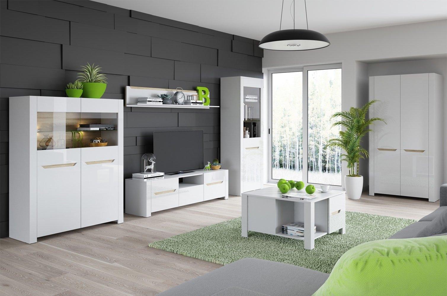 Set de mobila living din MDF 6 piese Ice White / Sonoma Oak