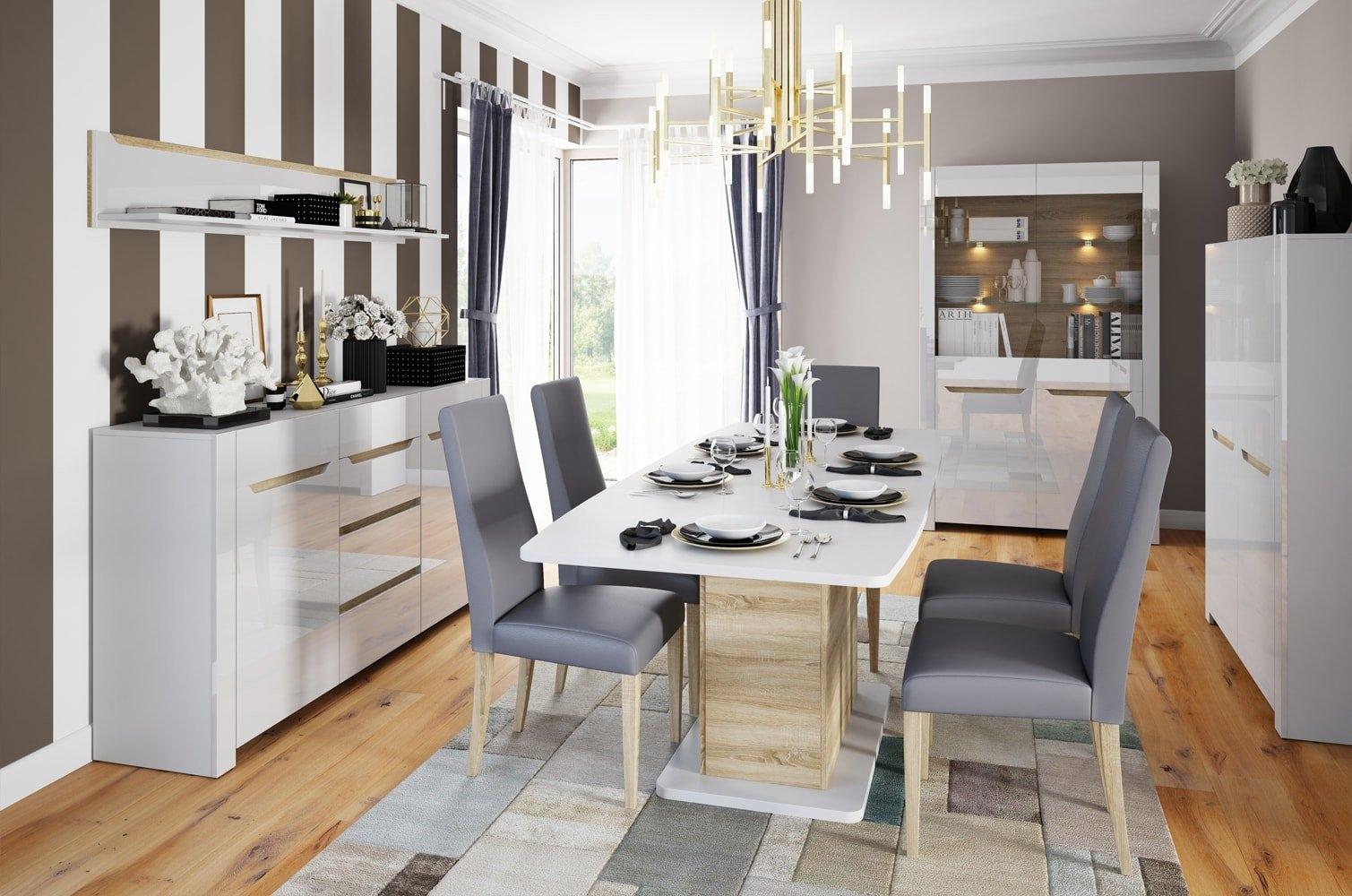 Set de mobila dining din MDF, 5 piese Ice White / Sonoma Oak