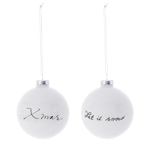Set 2 Ornamente Brad Xmas...let It Snow Alb/negru  Sticla  Ø6 Cm