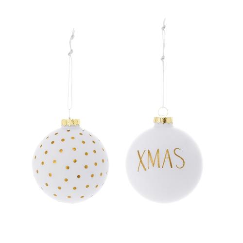 Set 2 Ornamente Brad Xmas Alb/auriu  Ø8 Cm