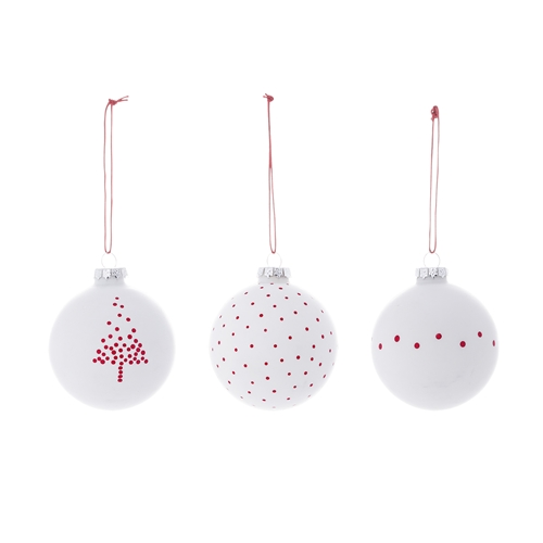 Set 3 Ornamente Brad Snow Alb/Rosu, Sticla, Ø8 cm imagine