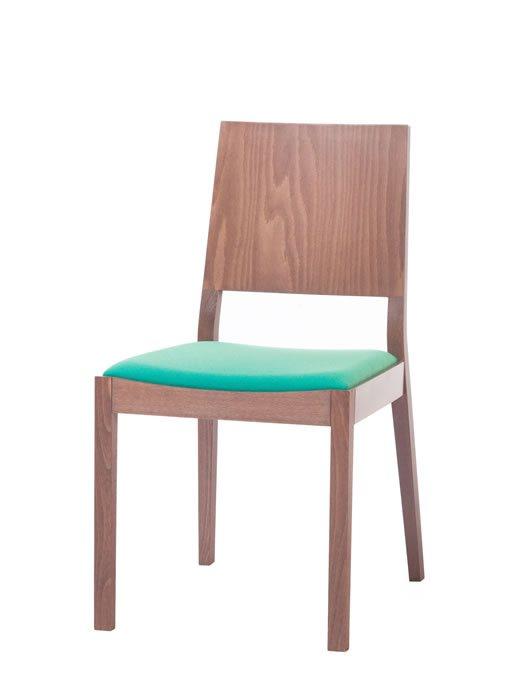 Scaun din lemn de stejar tapitat cu stofa Lyon Walnut / Green 514 l46xA58xH86 cm