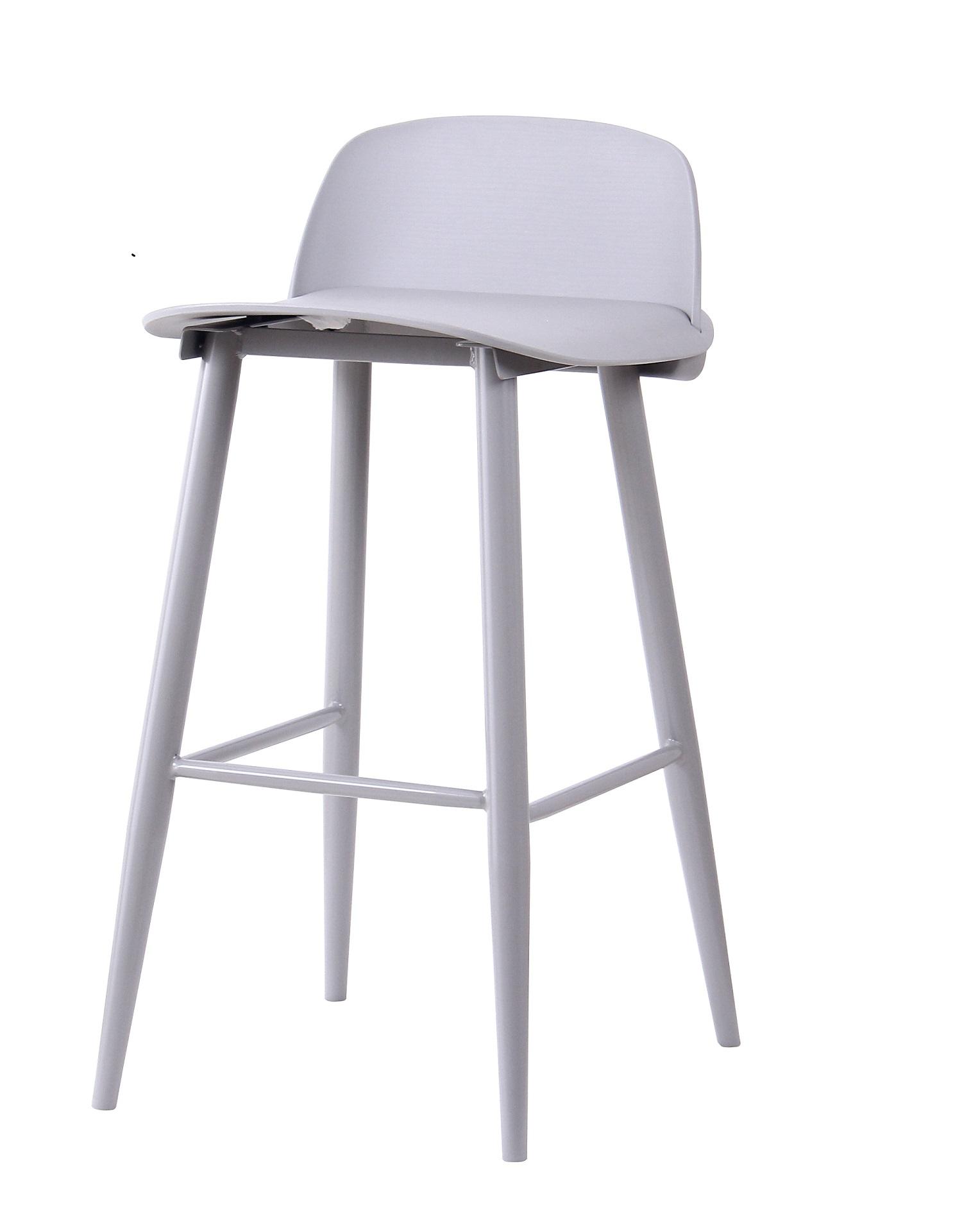 Scaun de bar din plastic, cu picioare metalice Roxie Grey, l45xA42xH75cm