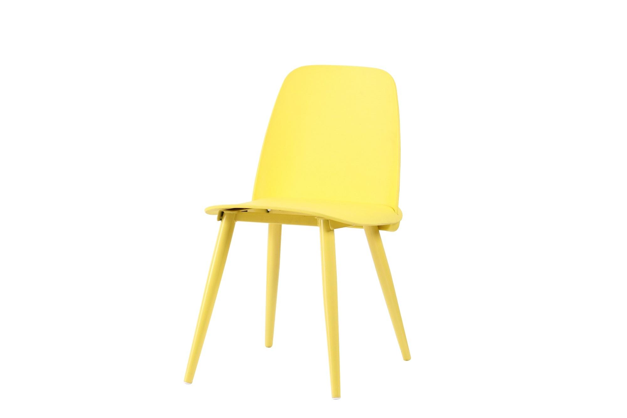 Scaun din plastic cu picioare metalice Sting Yellow l50xA46xH80cm