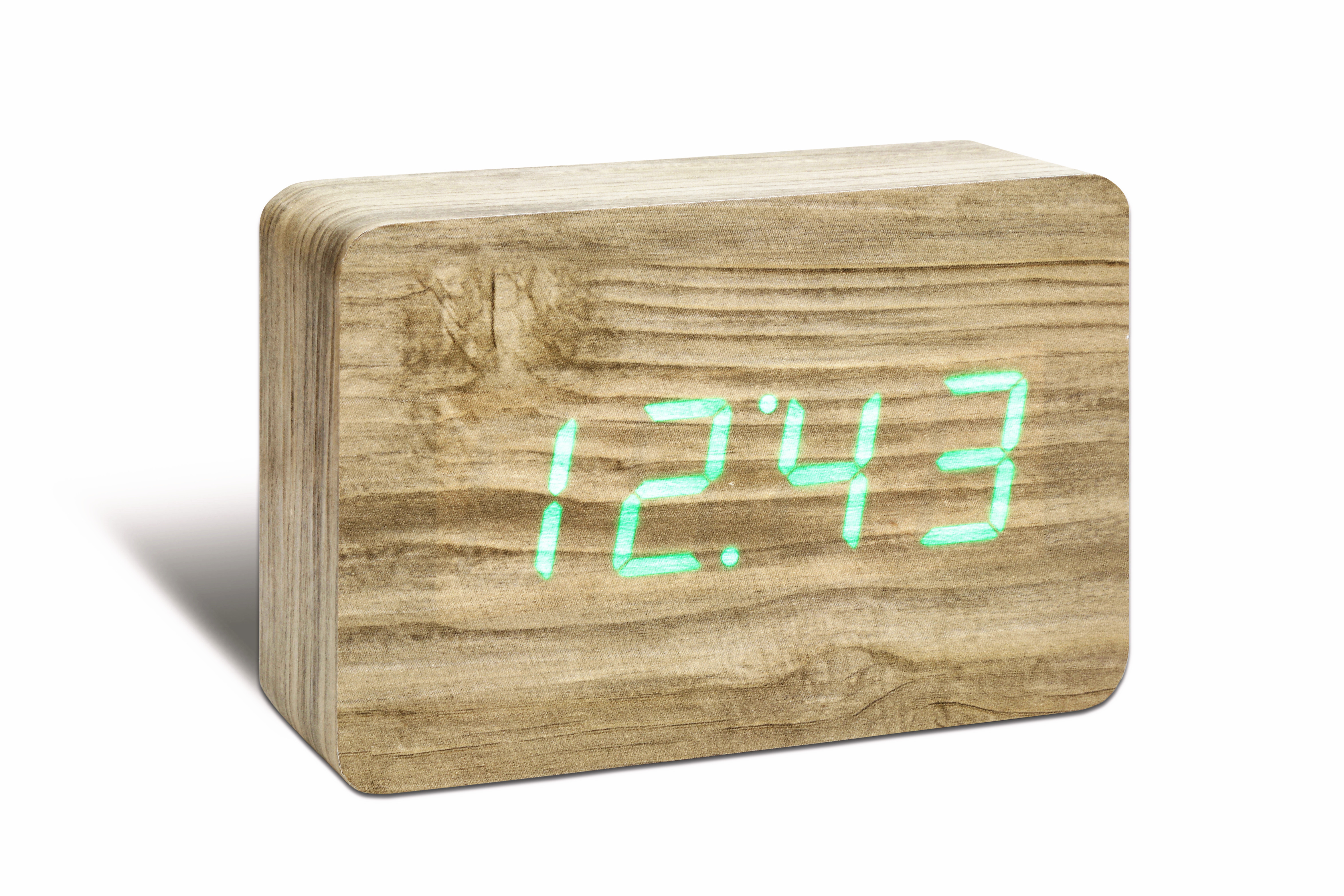 Ceas cu functie de intensitate redusa Brick Click Clock Ash/Green din categoria Decoratiuni Interioare