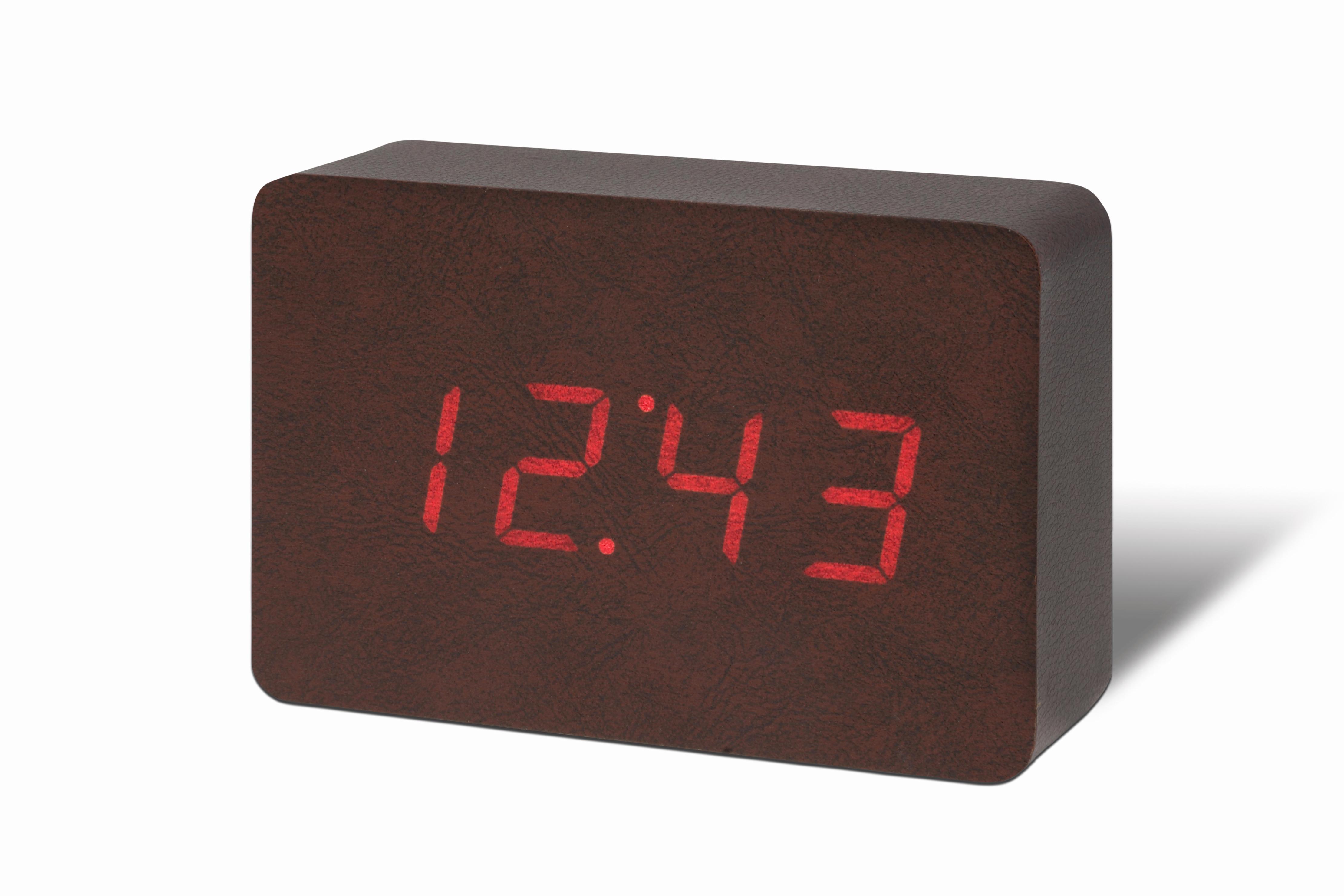Ceas cu functie de intensitate redusa Brick Click Clock Leatherette/Red