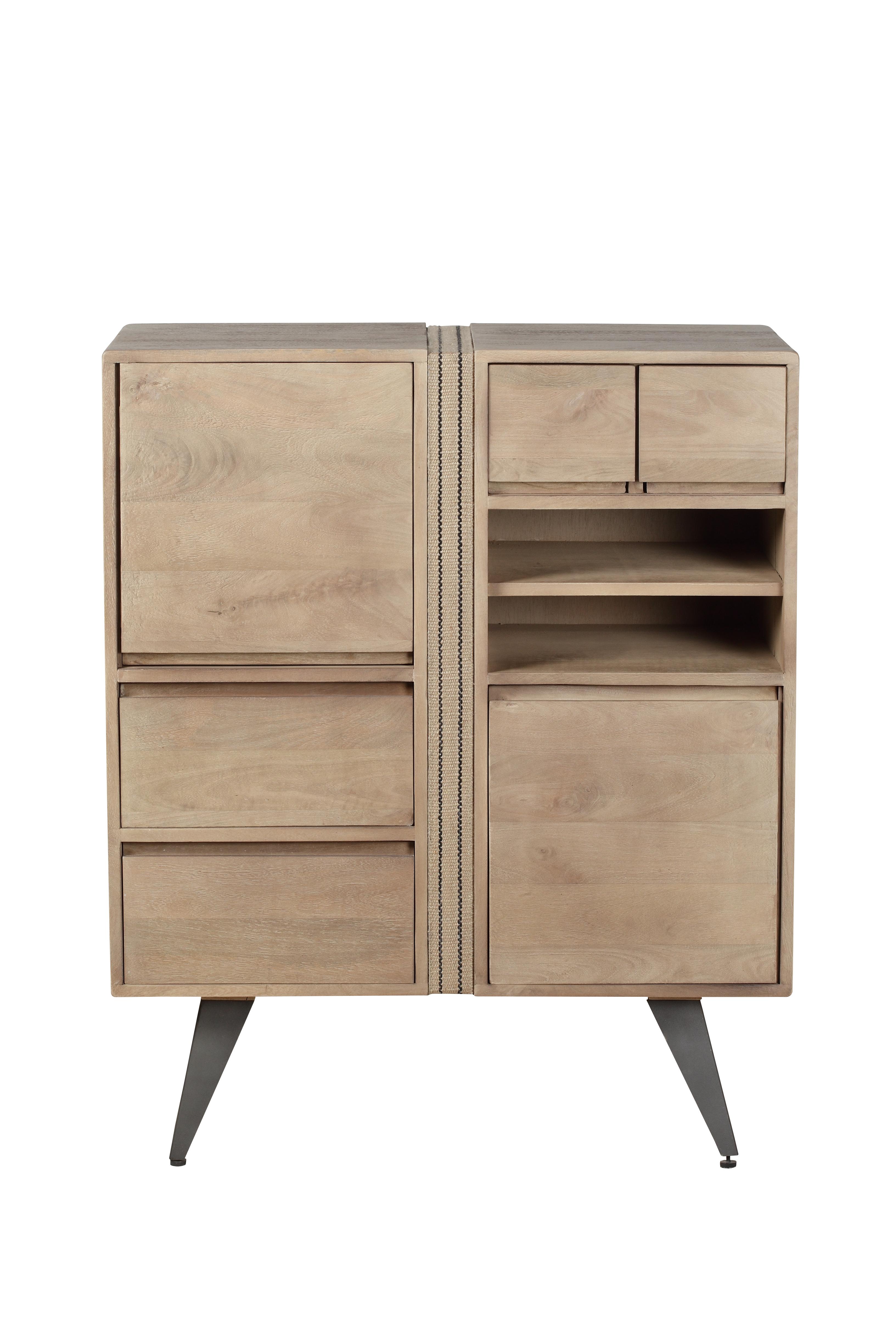 Cabinet din lemn cu 4 sertare si 2 usi Indiana Natural l825xA40xH100 cm