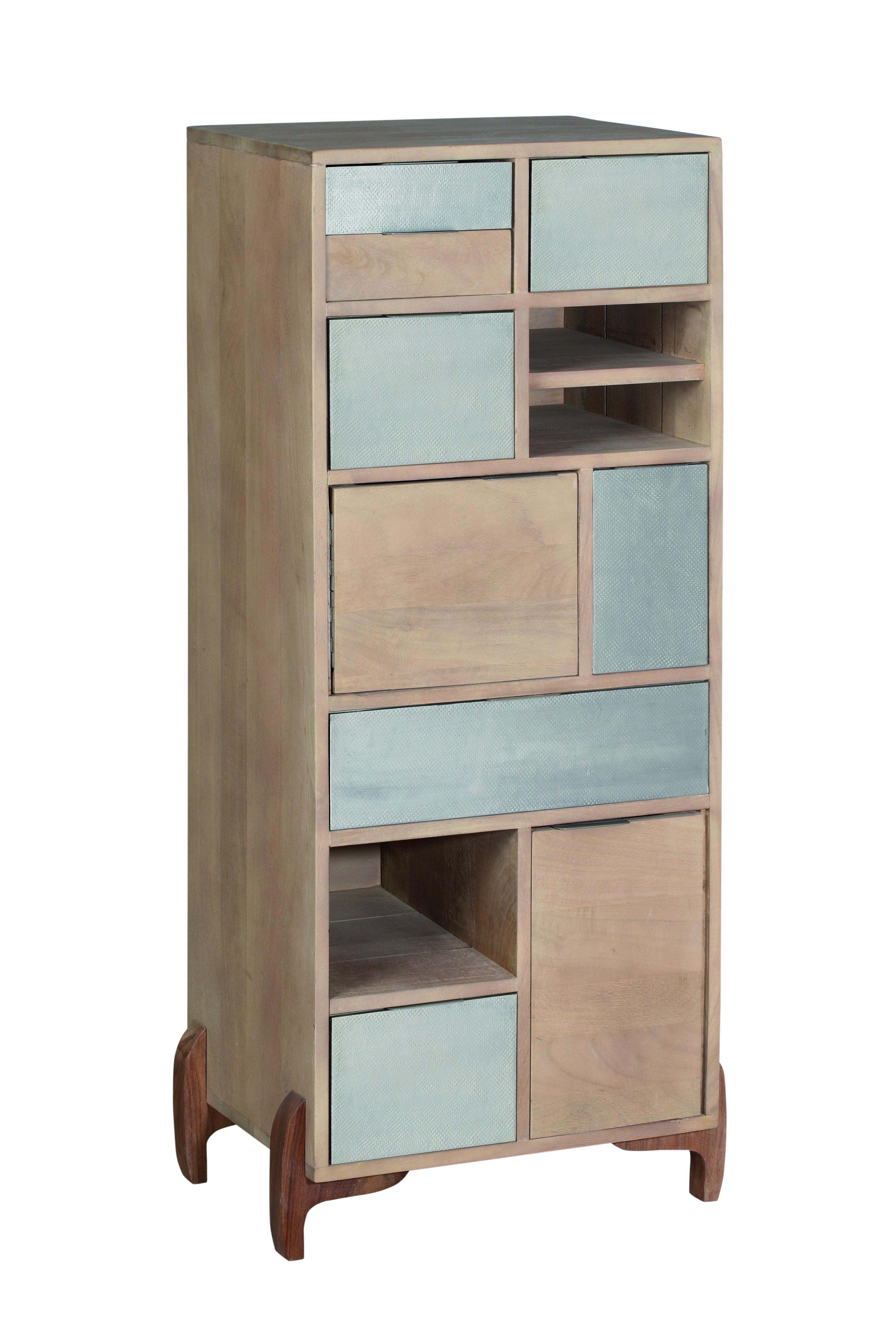 Cabinet din lemn cu 6 sertare si 3 usi Pasadena Natural l49xA35xH111 cm