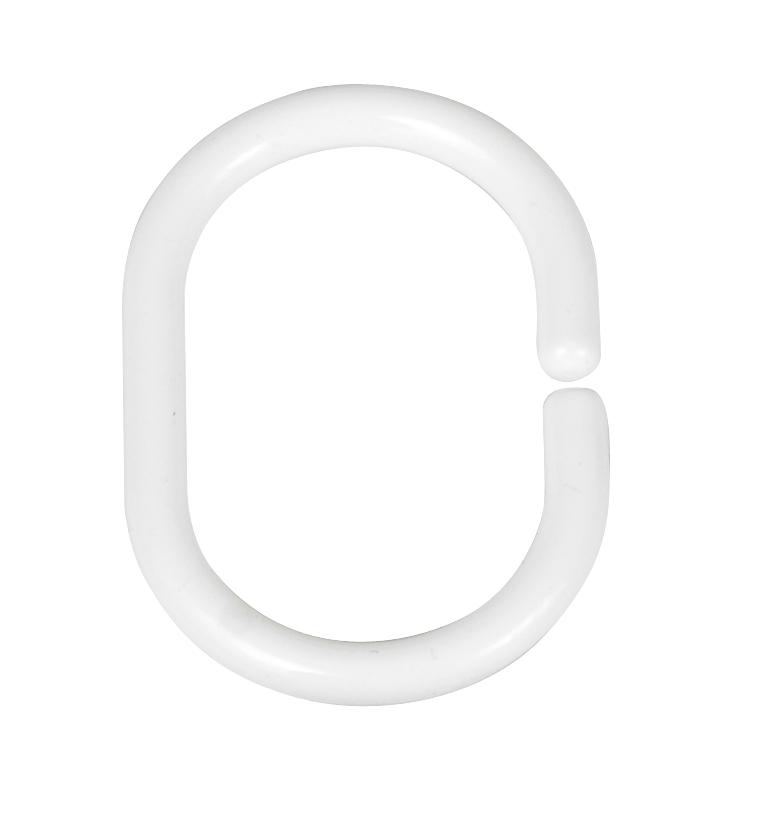 Inele perdea dus, din plastic, Hook Oval Alb, 3 x 4,5 cm, 12 bucati imagine
