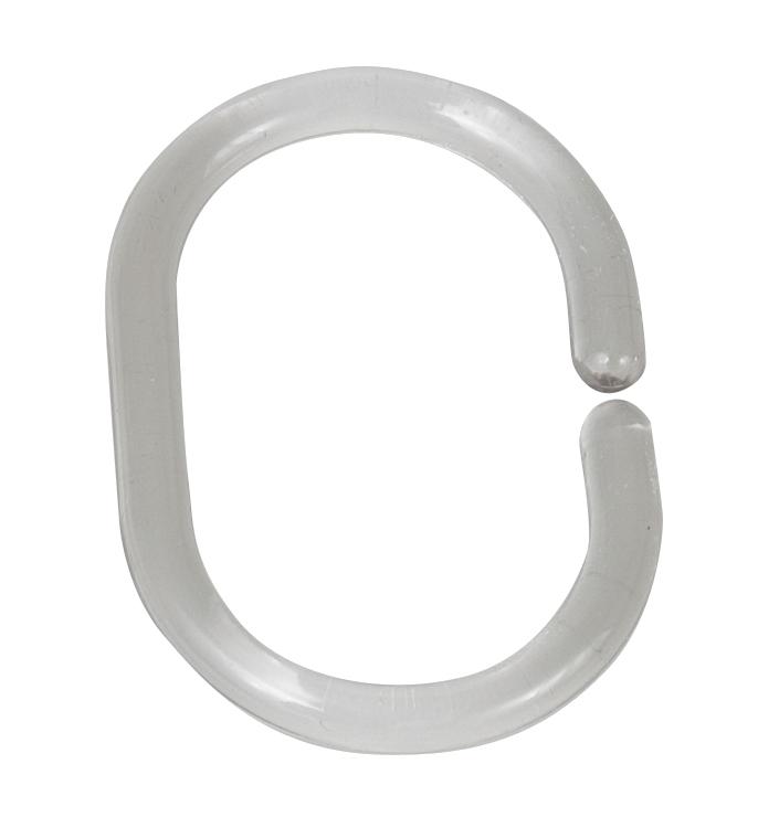 Inele perdea dus, din plastic, Hook Oval Transparent, 3 x 4,5 cm, 12 bucati imagine
