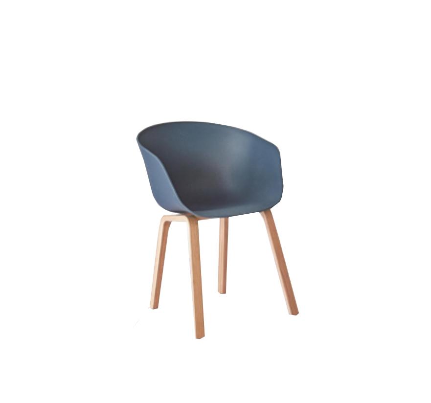 Scaun din plastic cu picioare din lemn Iris Dark Blue, l55xA56xH80 cm