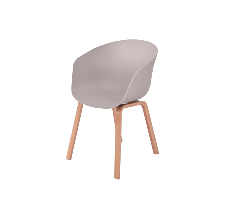 Scaun din plastic cu picioare din lemn Iris Grey l55xA56xH80 cm
