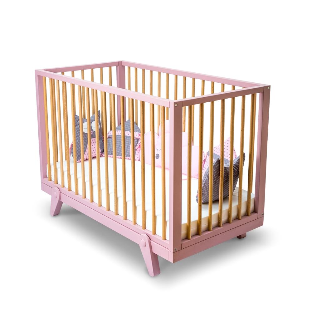 Patut din lemn de fag si MDF pentru bebe Isabelle Pink l126xA66xH89 cm