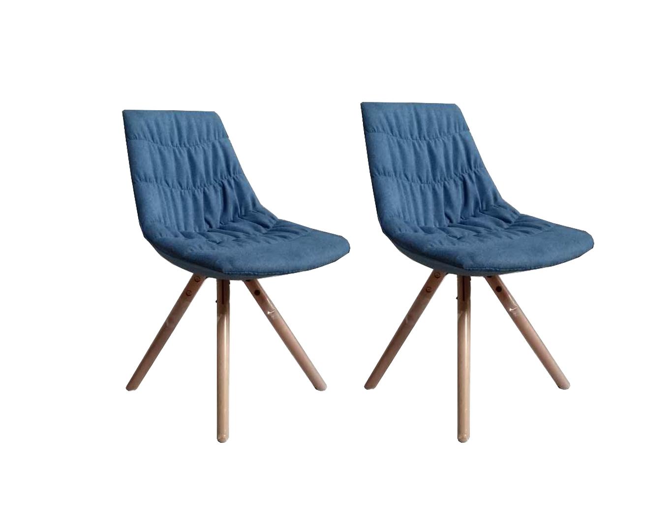 Set 2 scaune tapitate cu stofa cu picioare de lemn Joy Dark Blue l47xA54xH80 cm