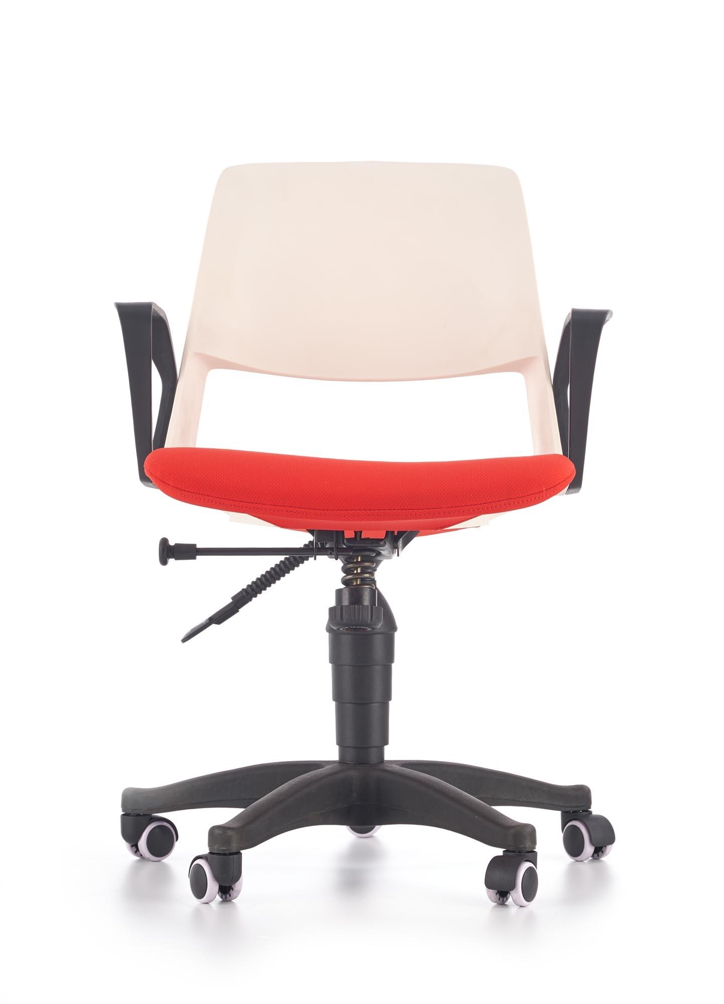 Scaun de birou pentru copii, tapitat cu stofa Janise Alb / Rosu, l60xA50xH84-93 cm