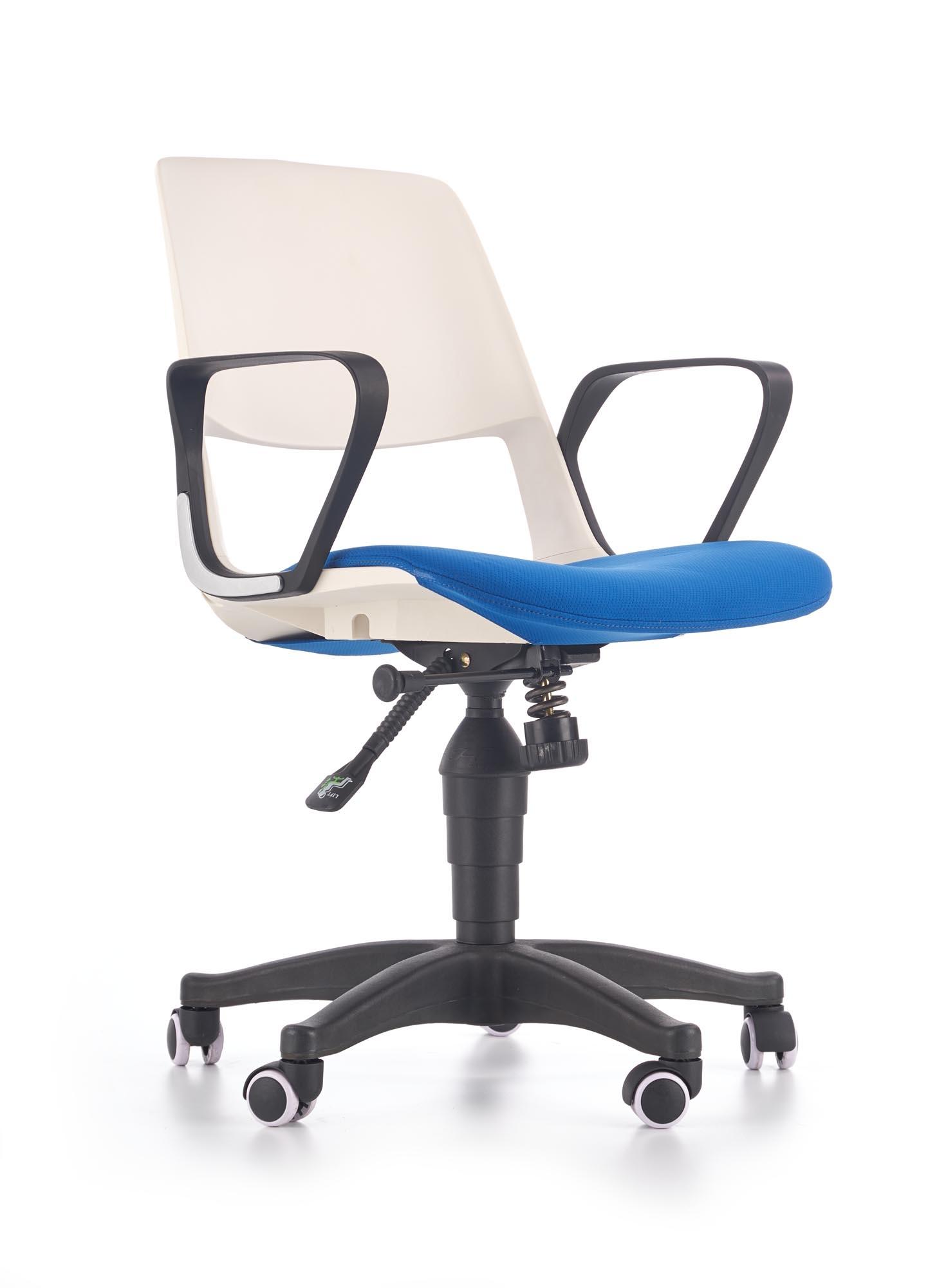 Scaun de birou pentru copii, tapitat cu stofa Janise Alb / Albastru, l60xA50xH84-93 cm imagine
