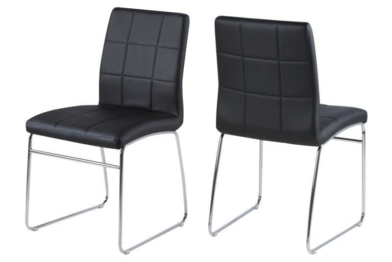Set 4 scaune metalice tapitate Justin Black