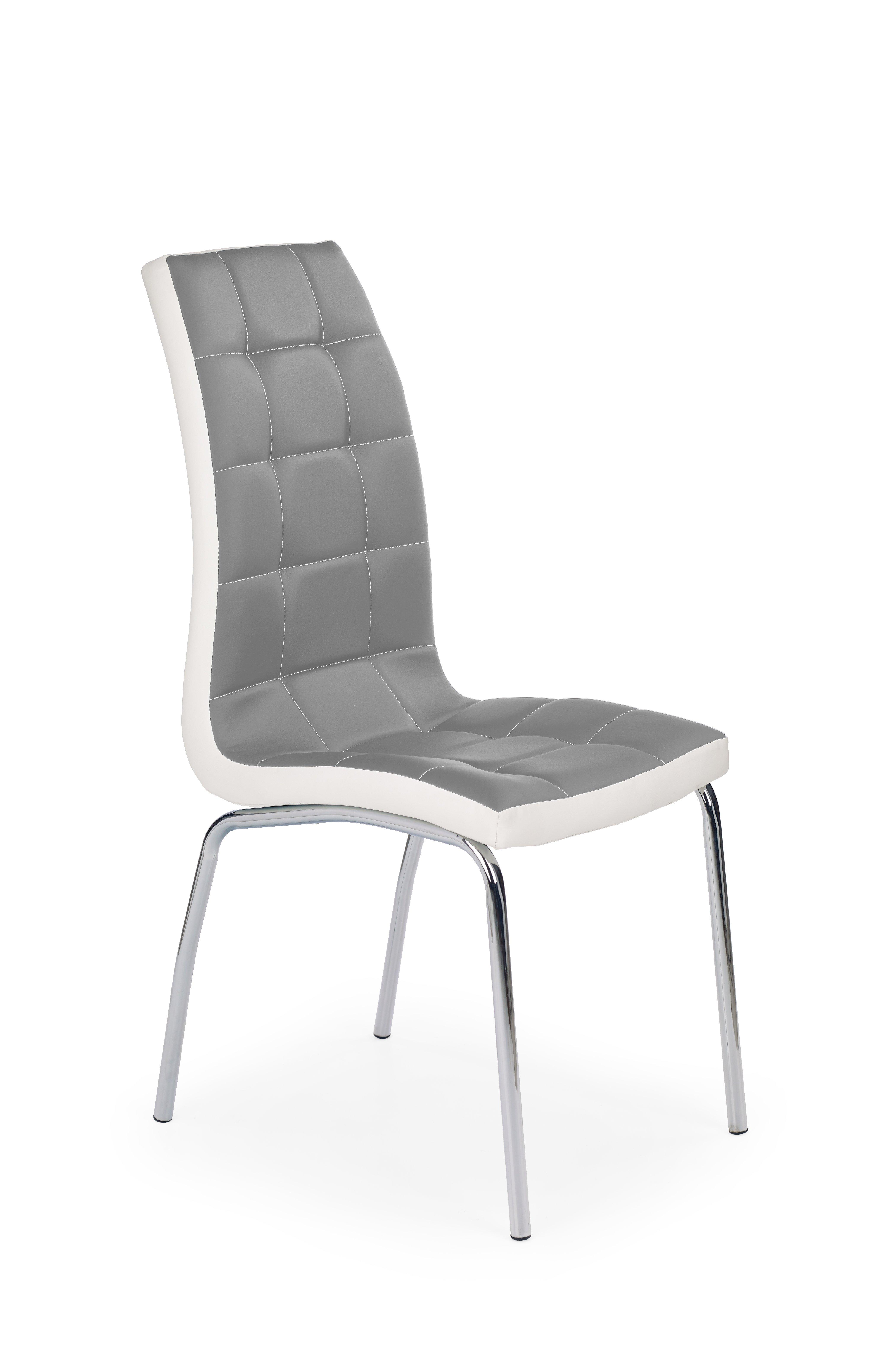 Scaun tapitat cu piele ecologica, cu picioare metalice K186 Grey / White, l42xA63xH100 cm poza