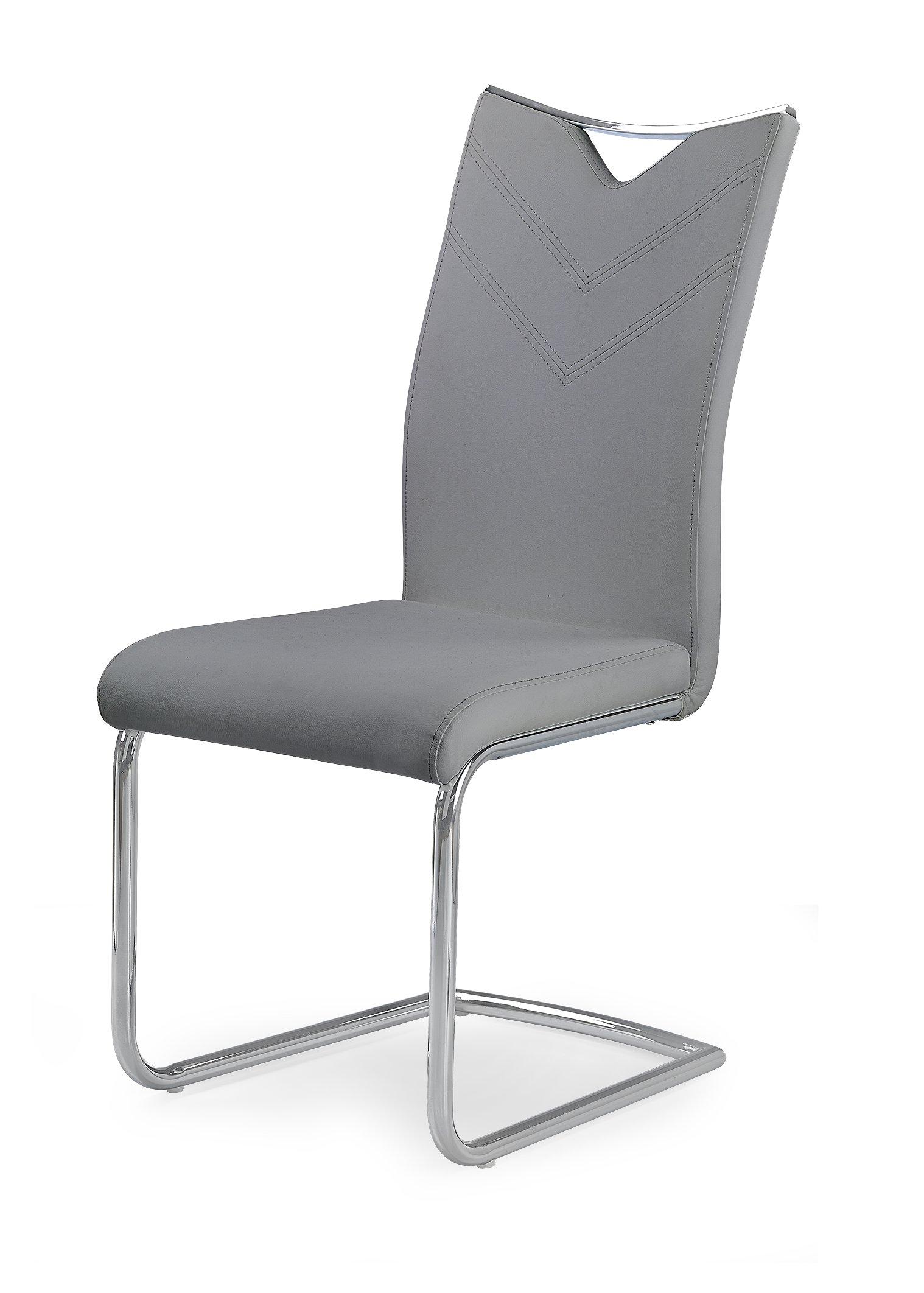 Scaun tapitat cu piele ecologica, cu picioare metalice K224 Grey, l44xA59xH100 cm