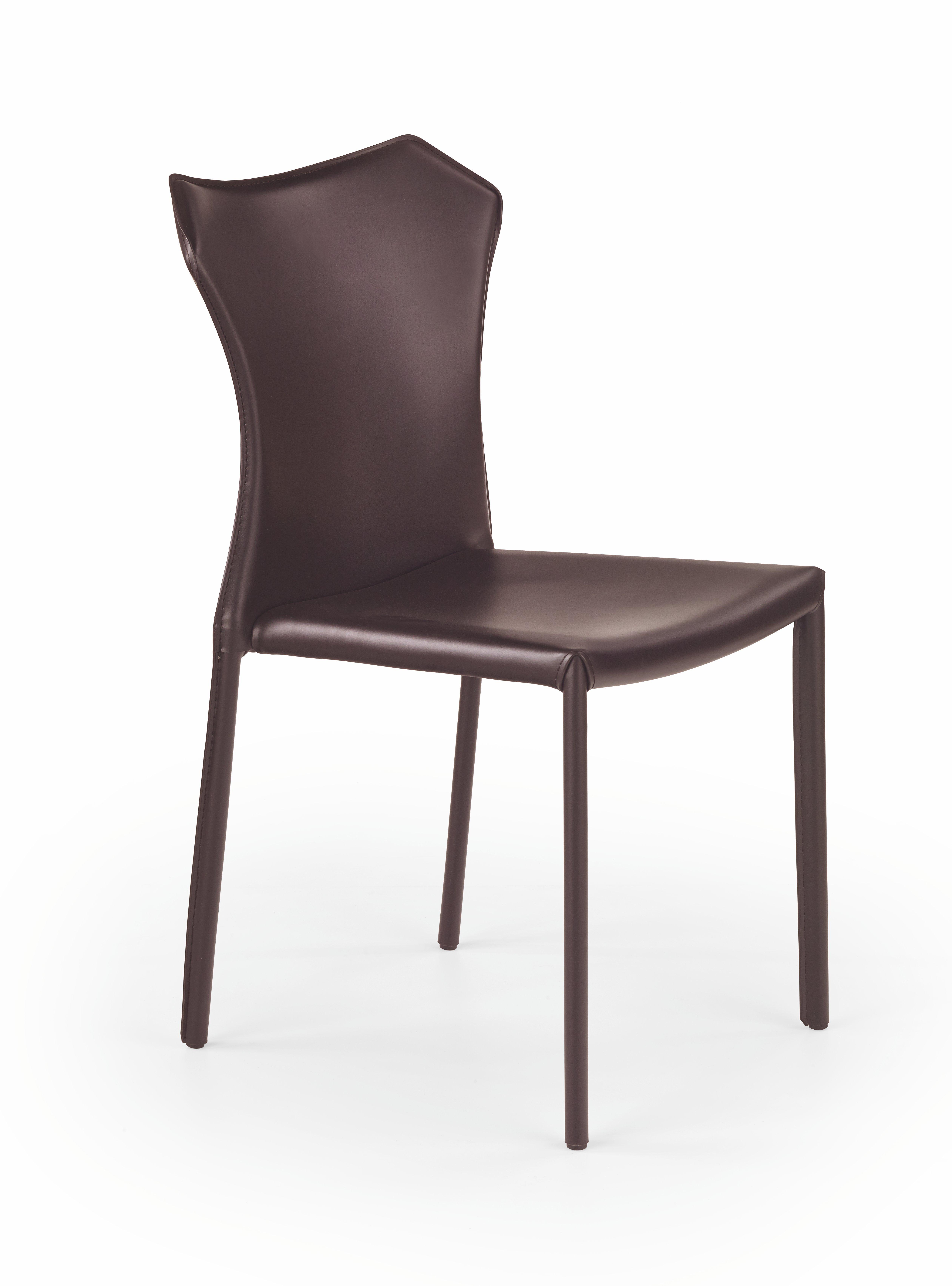Scaun tapitat cu piele ecologica, cu picioare metalice K208 Dark Brown, l42xA41xH86 cm