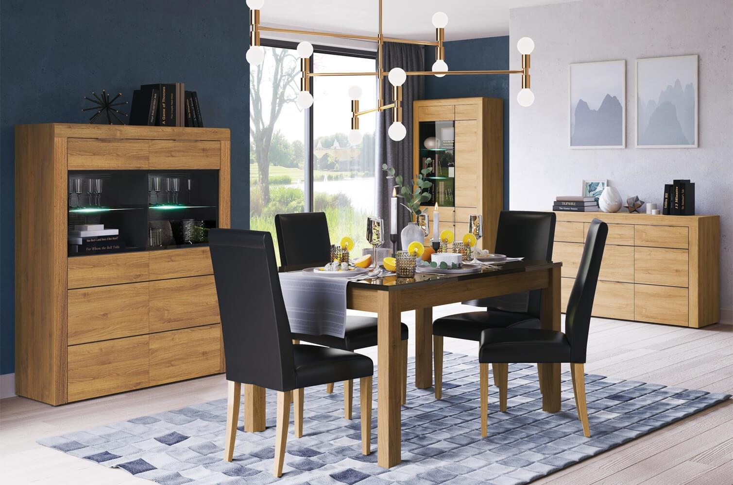 Set de mobila dining din pal 4 piese Kama Oak / Black