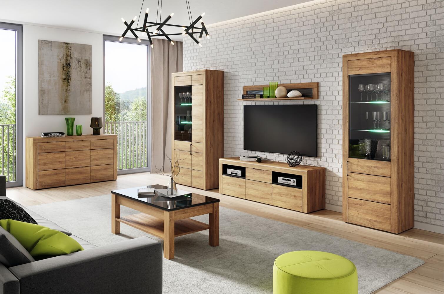 Set de mobila living din pal, 5 piese Kama Stejar / Negru imagine