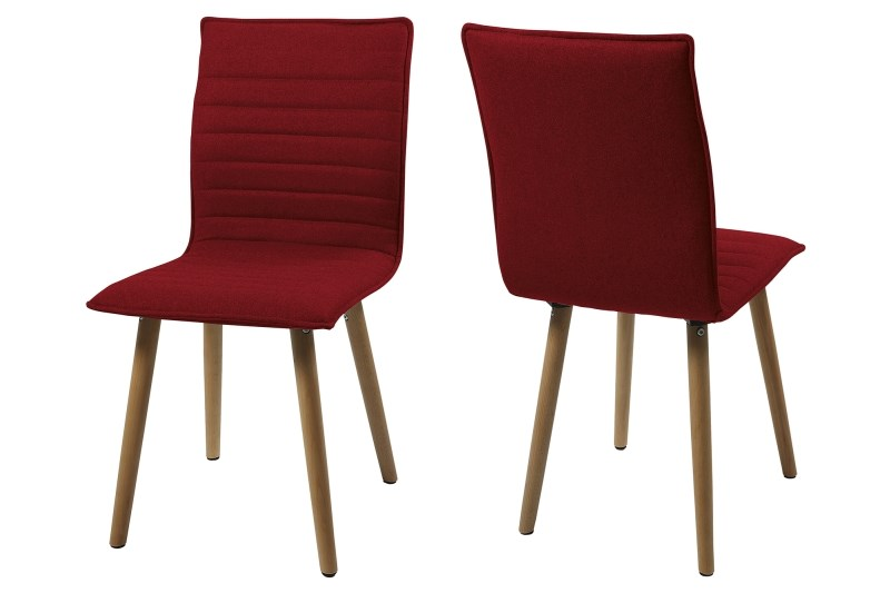 Set 2 scaune din lemn tapitate Karla Red/Dark Oak imagine