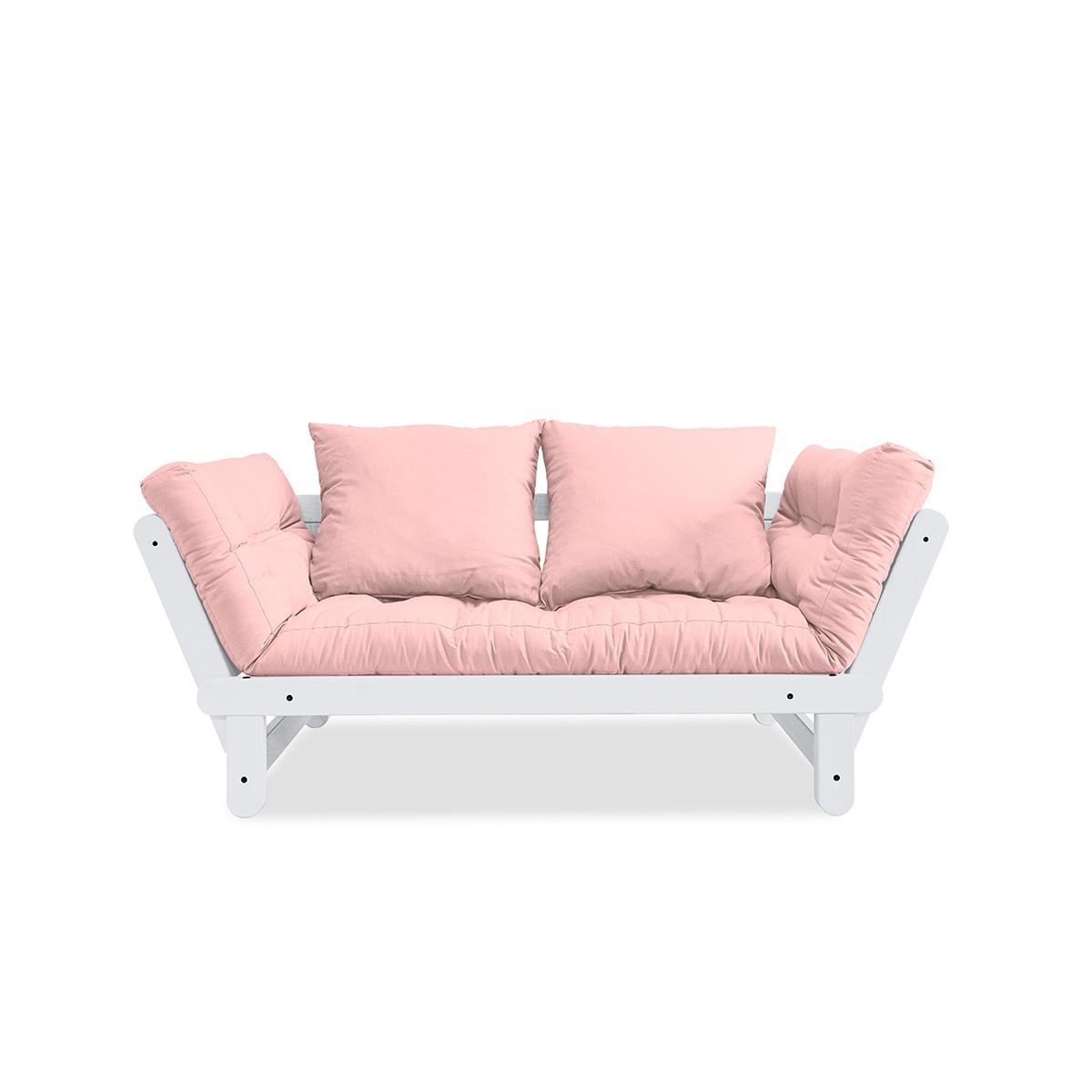 Canapea extensibila Beat White Pastel Pink